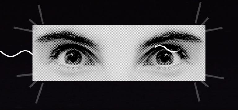 Botão para acessar a página do Unibes Cultural. Na imagem um zoom apenas nos olhos de uma pessoa, eles encaram encaram o/a leitor(a).
