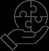 Ícone com desenho de linhas. Uma mão segura um quebra cabeça redondo de 4 peças montado.