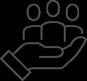 Ícone com desenho de linhas, uma mão carrega o torso de três pessoas.