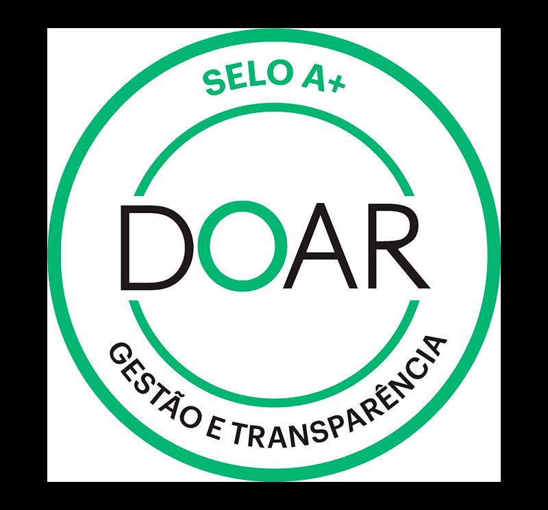 Selo que certificado a instituição com o conceito A+ em gestão e transparência pelo DOAR