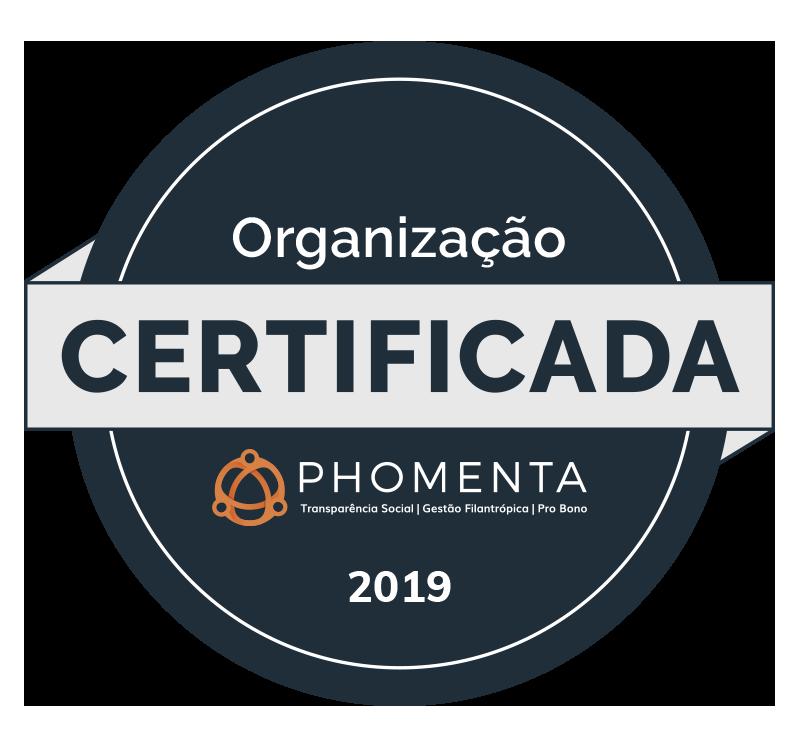 Selo que certifica a organização em 2019, concedido pela Phomenta - transparência social, gestão filantrópica, pro bono.