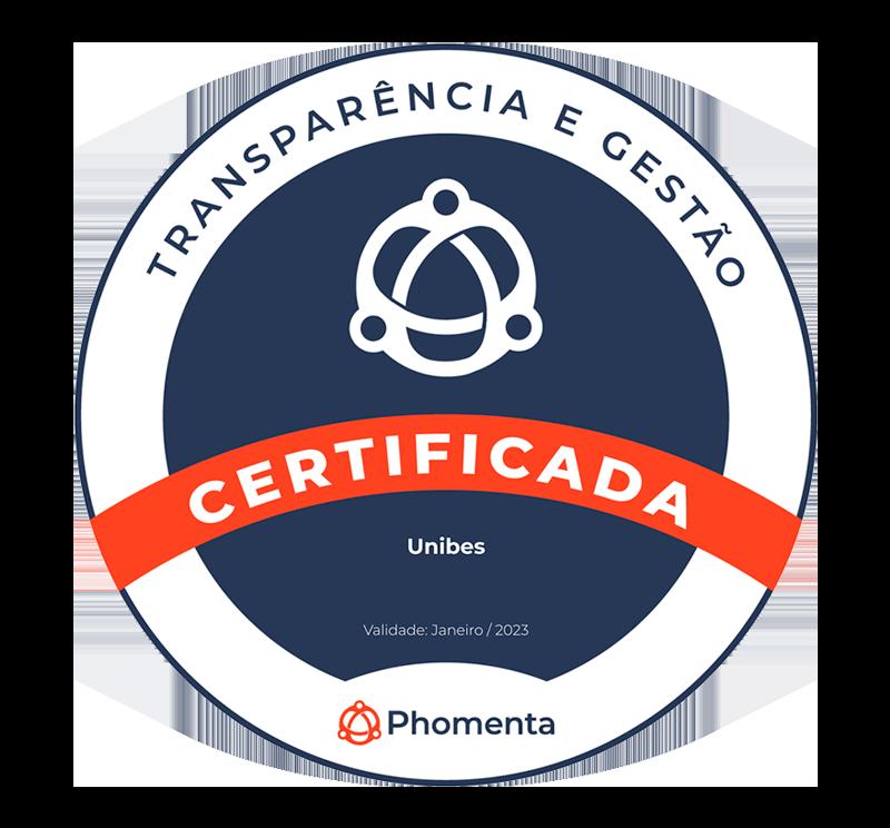 Selo que certifica a organização em 2021, concedido pela Phomenta - transparência e gestão.