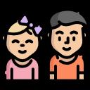Ícone com duas crianças felizes.