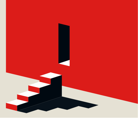Na imagem existe o desenho de uma escada