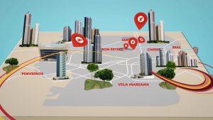 Imagem do vídeo, nela mostra um mapa da cidade de São Paulo com as unidades da Unibes sinalizadas por um marco vermelho.