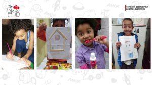 A imagem é composta por quatro fotos de crianças. Da esquerda para direita, a primeira foto mostra uma criança desenhando. A segunda e quarta fotos, as crianças mostram os desenhos que fizeram em uma folha de papel. Na terceira foto, uma criança escova os dentes
