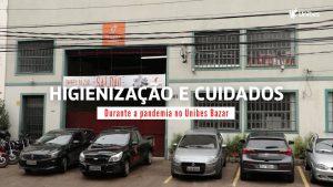 """Fachada do centro de distribuição do Unibes Bazar. No centro da Imagem, a frase """"higienização e cuidados durante a pandemia no Unibes Bazar"""""""